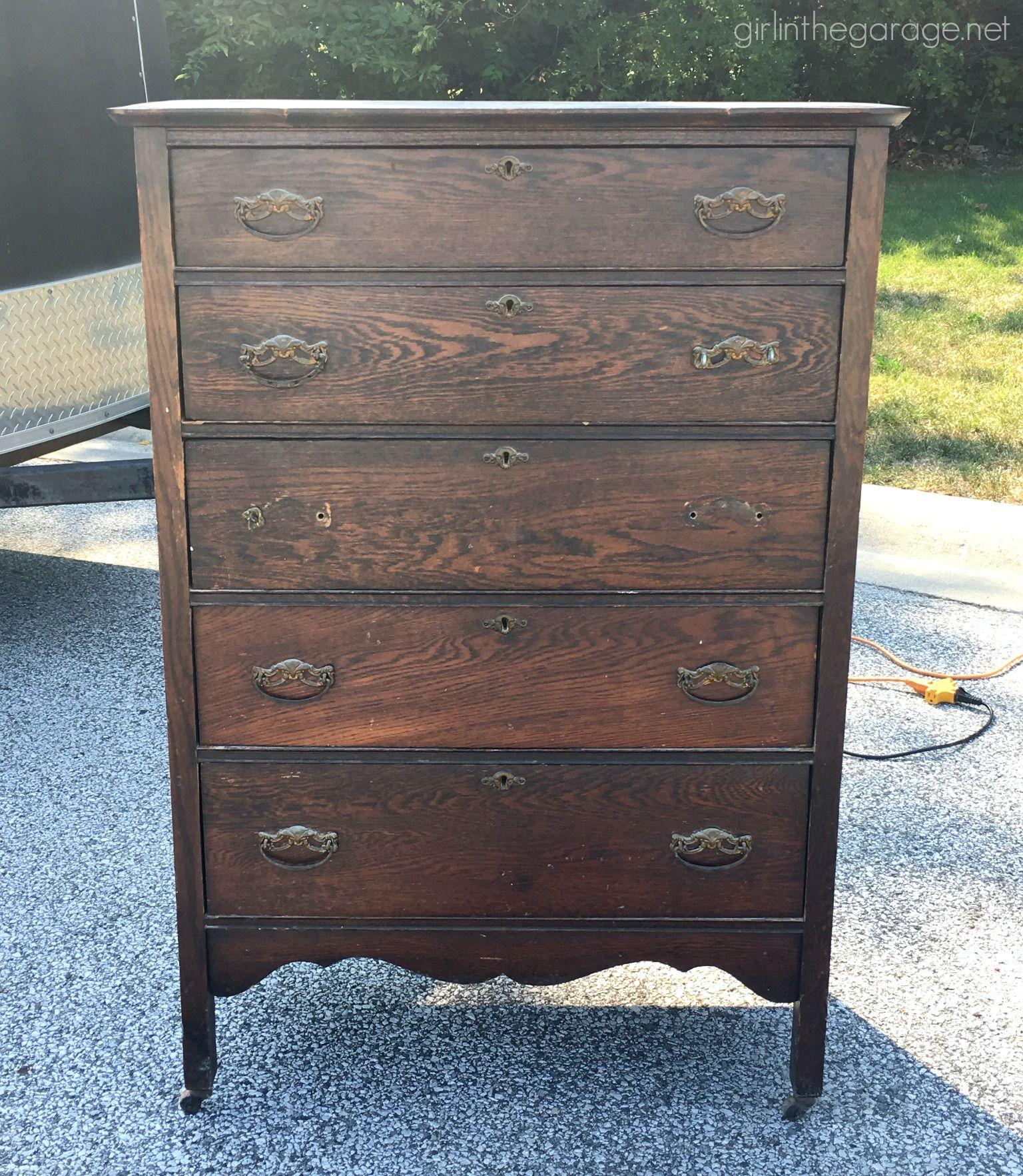 Best Rustic Stenciled Antique Dresser Makeover Metal Desk 400 x 300
