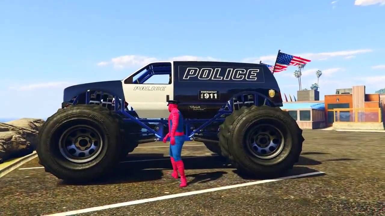 Monster Truck Police Cars Cartoon With Spiderman For Kids And