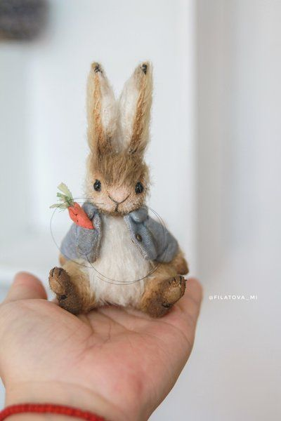 Pitt by Filatova Marina #needlefeltedbunny Rabbit Pitt Little and mischievous rabbit. I stitched it completely manually using teddy technology. - sewn from mohair cotter pins - inside cedar sawdust and metal granules - author's tint - glass eyes - a jacket with a pocket and a carrot. Lined, all very high quality! If you love Pitt Bunny take him home!