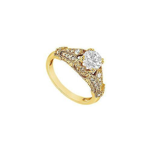 Diamond Engagement Ring : 14K Yellow Gold - 0.75 CT Diamonds