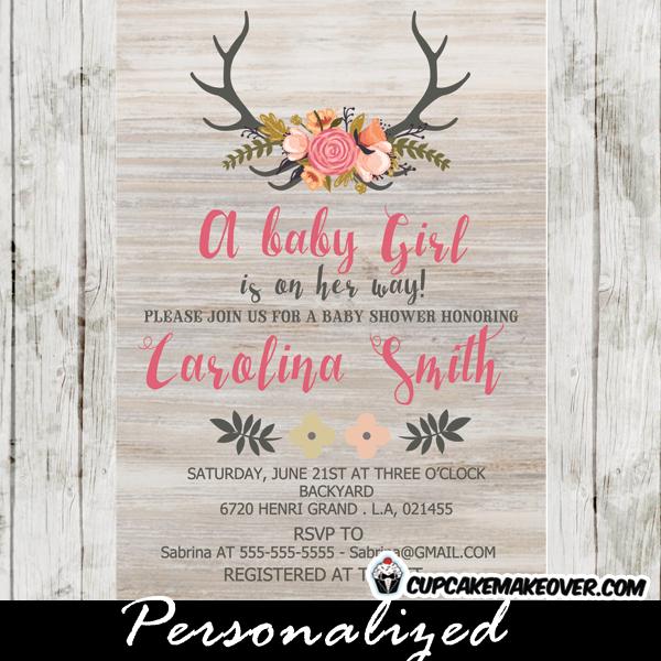 chic deer antler baby shower invitation adorned with a beautiful, Baby shower invitations