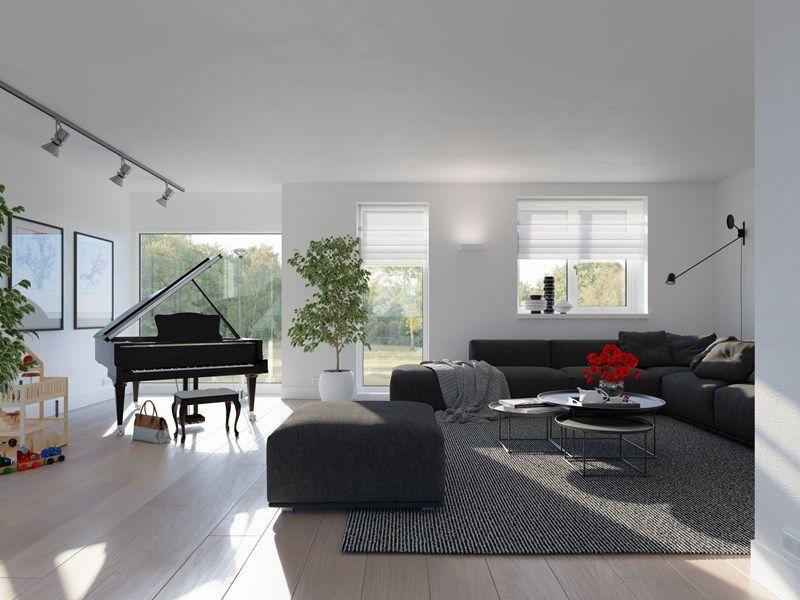 woonstijl interieur impressie van lichte kamer met donkere