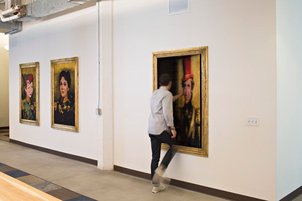 Offices don't have to be serious all the time. The Lyft office in San Francisco (designed by Rapt Studios) has just the right amount of 'whimsy' with these character portraits of Peter Pan, Mary Poppins and Willy Wonka.