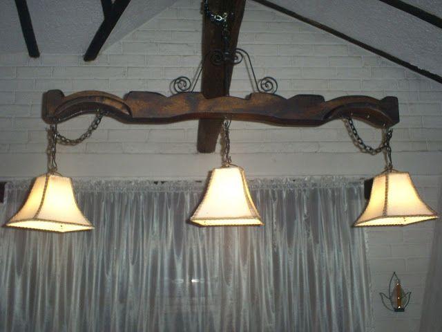 Lamparas rusticas madera y fierro buscar con google - Como hacer lamparas rusticas ...