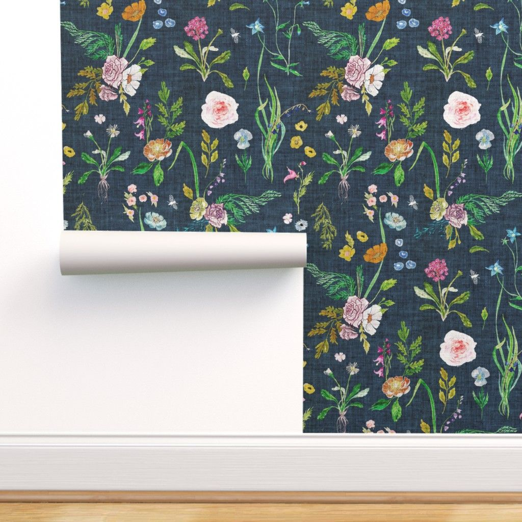 Peel And Stick Removable Wallpaper Floral Summer Daisy Navy Blue Flowers Rose Walmart Com Floral Wallpaper Blue Flower Wallpaper Navy Blue Flowers