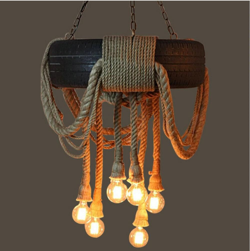 Tire Rope Chandelier E27 Lamp Rope Pendant Lamps Indoor