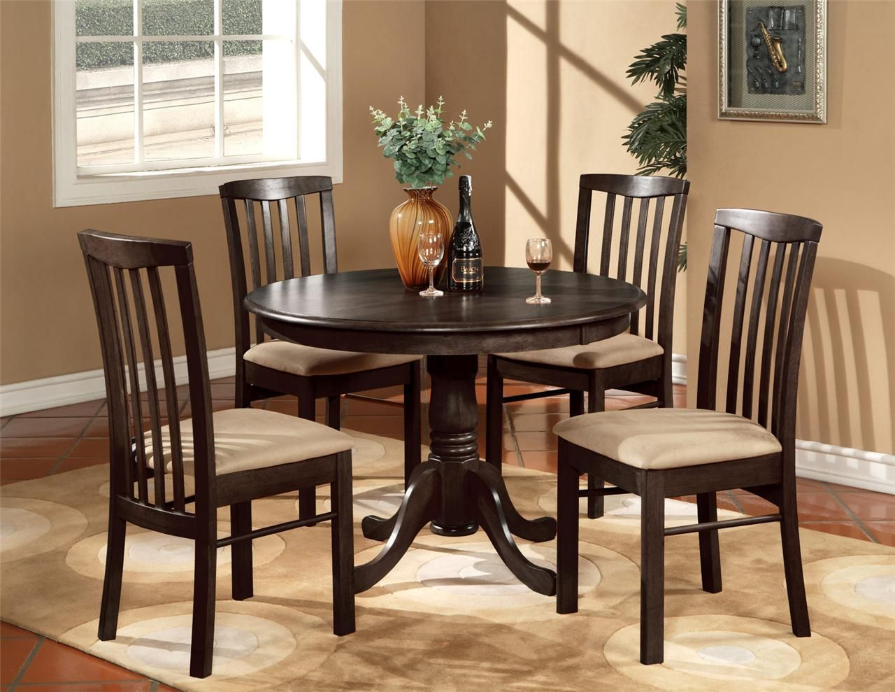 Kitchen Dinette Surplus Cabinets 5pc Round 42 Set Table And 4 Wood Or Upholstered Dark Counter Height Chirs Chairs