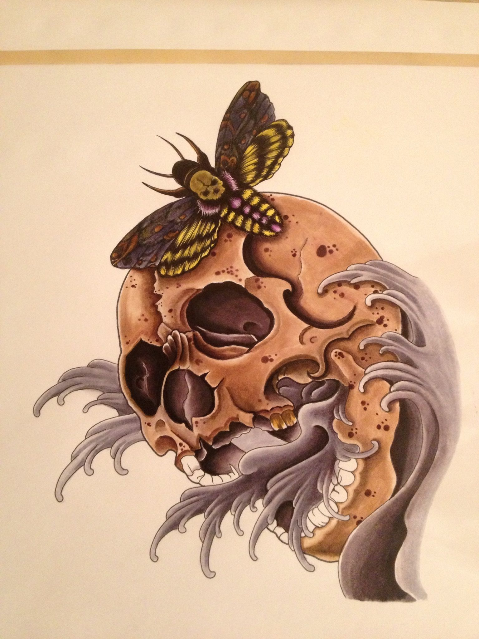 Art color markers - Deathhead Moth And Skull In Progress Using Prisma Color And Copic Art Markers By Bert Frink
