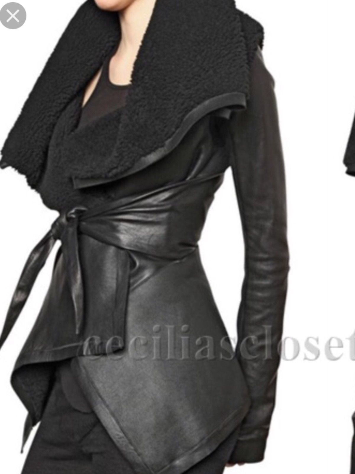 Rick Owens Black Shearling and Leather Wrap Jacket sz 44