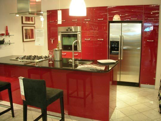 High Gloss Red Ikea Kitchen Cabinet Doors Abstrakt