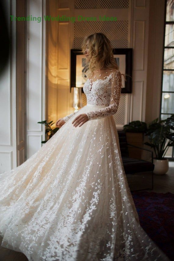 EtsyMuse wedding with long sleeves , low back , A line… #civilweddingdresses