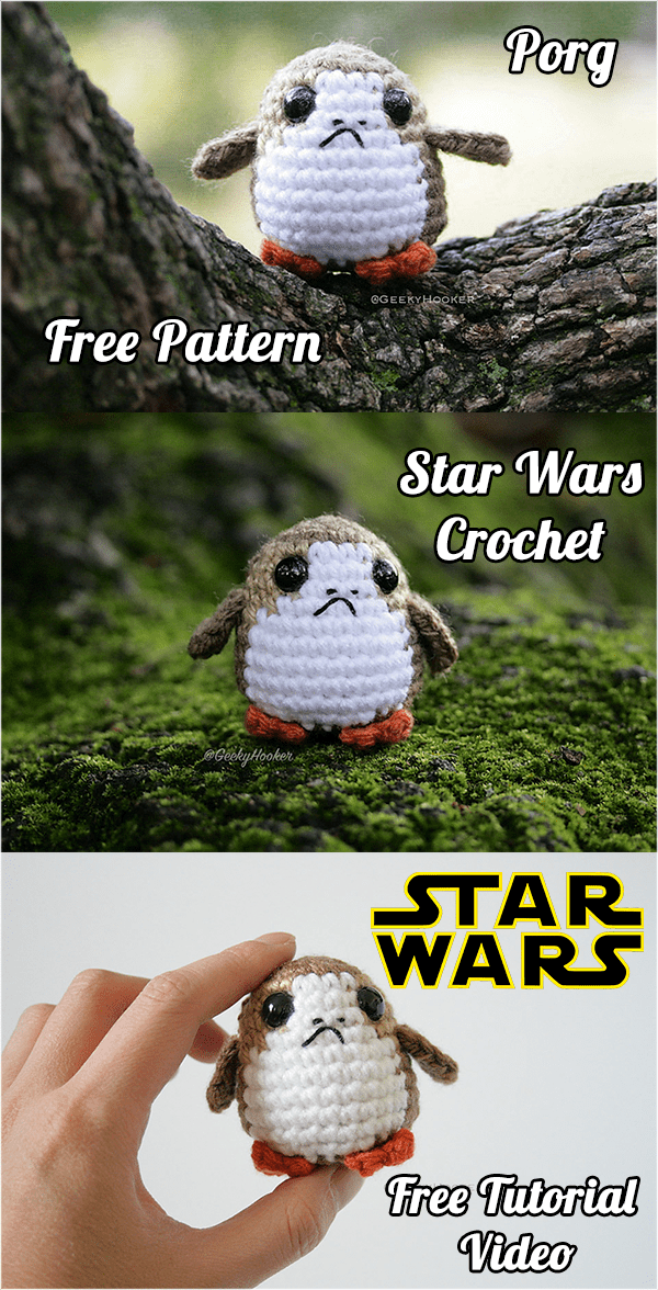 Star Wars Crochet Porg Free Pattern and Tutorial Video | Crochet ...
