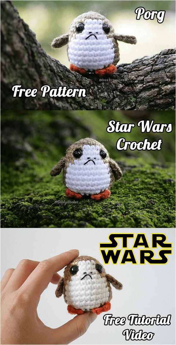 Star Wars Crochet Porg Free Pattern and Tutorial Video | Amigurumi ...