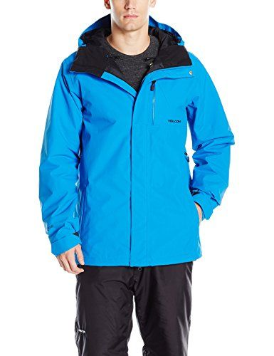 volcom mens l insulated goretex jacket cyan blue xlarge on men s insulated coveralls with hood id=37657