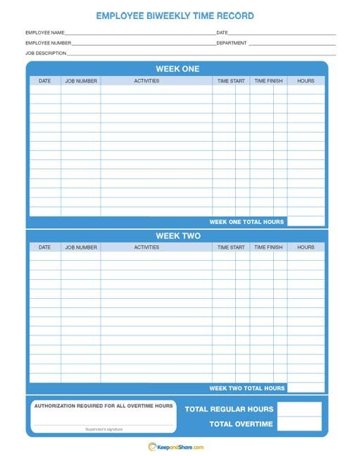 Bi-Weekly Time Record KeepandShare hour sheets Pinterest