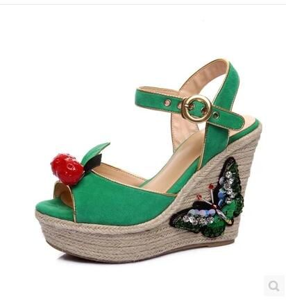 7c8b427f56ca Newest Design Ladies Green Sandals Cherry Butterfly Peep Toe Wedge 8cm Shoes  Wedding Party Dress Shoes