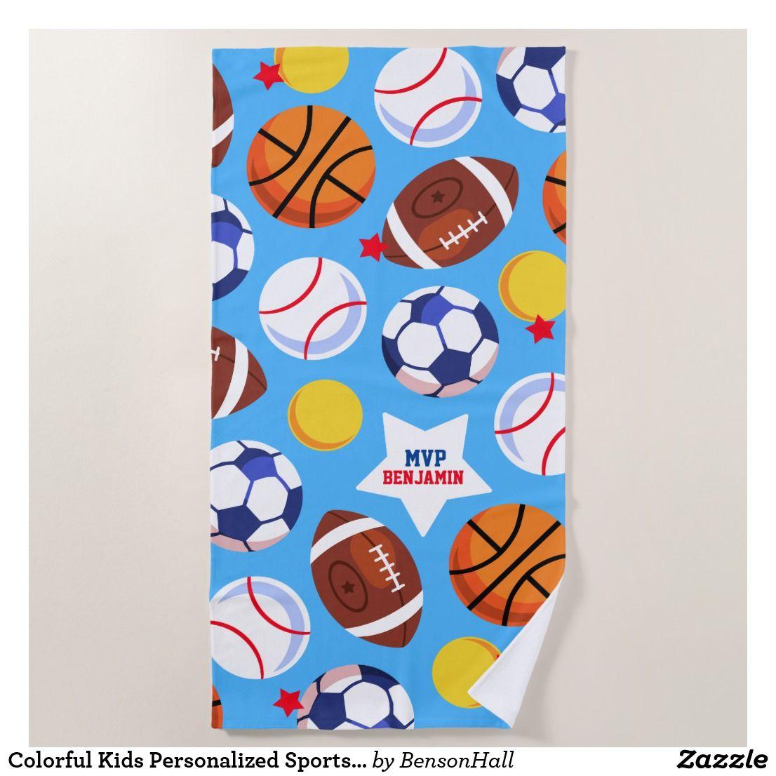 Colorful Kids Personalized Sports Beach Towel Sports Sportstowel