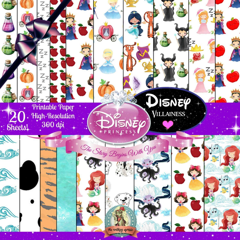 Scrapbook paper disney - Disney Princess Printable Paper Pack 20 Sheets Disney Printables Digital Scrapbook Paper