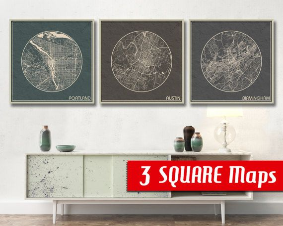 3 Square Maps Any 3 Cities For Your Choice From Our Biggest Map