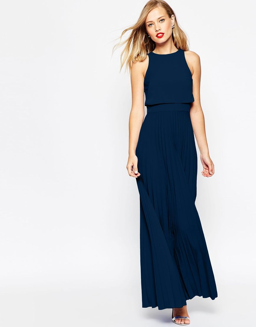 Image 1 of ASOS Pleated Crop Top Maxi Dress | Clothes | Pinterest