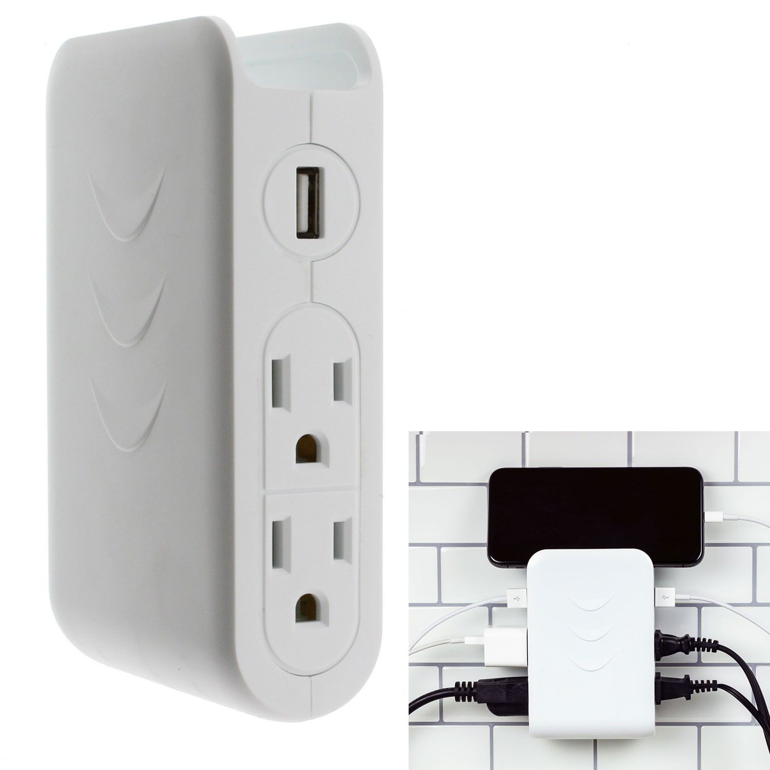 Brightway White 4 Outlet 2 Usb Surge Protector Side Mount Wall Tap Discontinued No Longer Available Wall Taps Surge Protector Protector