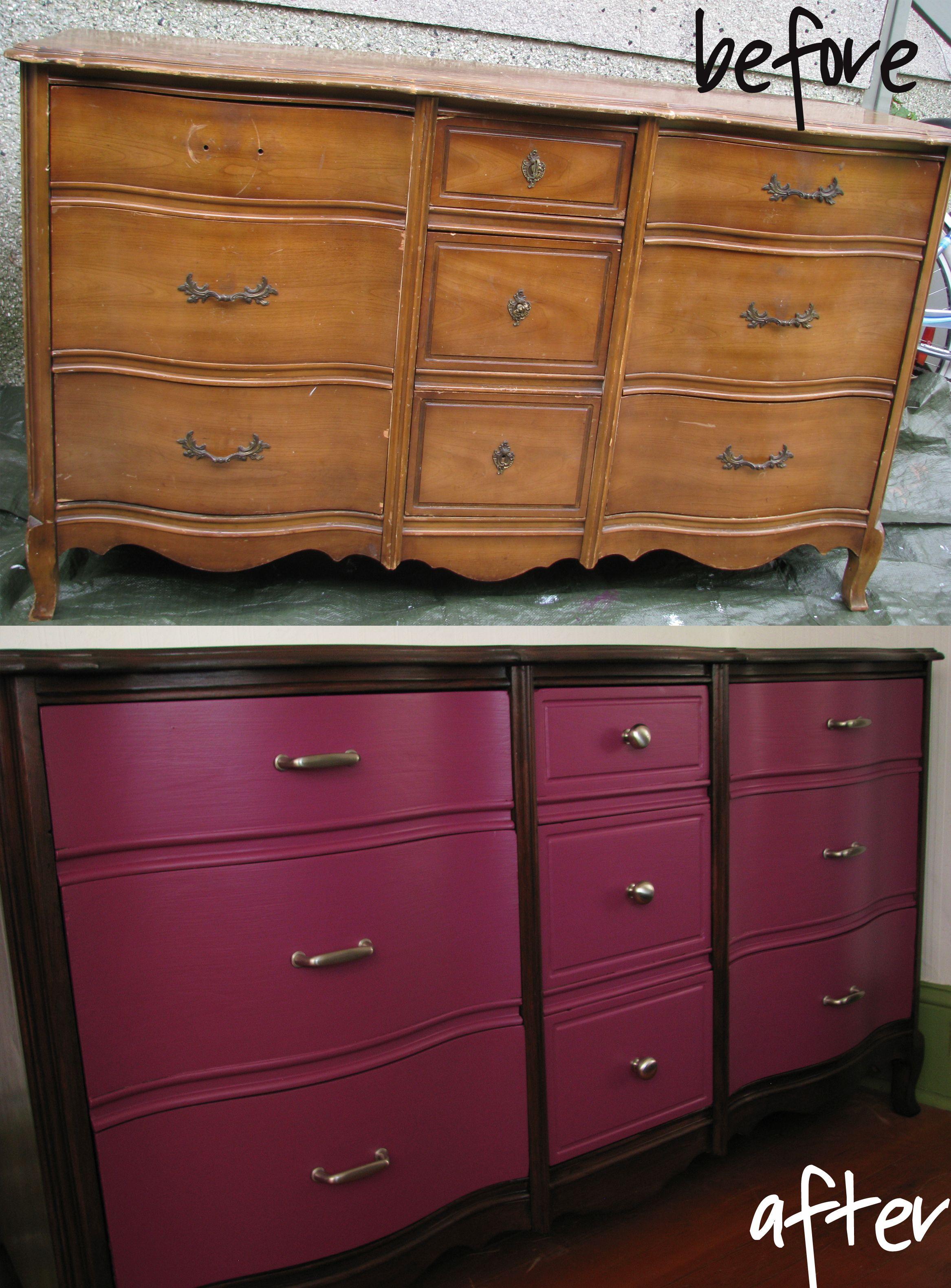 Freebie dresser transformation - refinished dresser ...