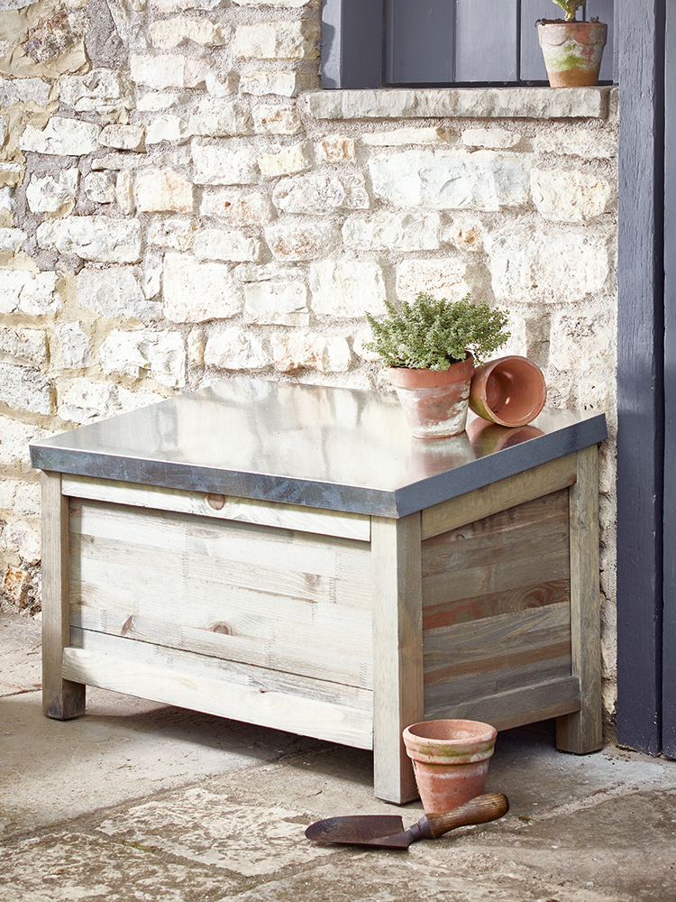Captivating Crafted From Natural Spruce With A Hinged Distressed Galvanised Metal Top,  This Spacious Outdoor Storage