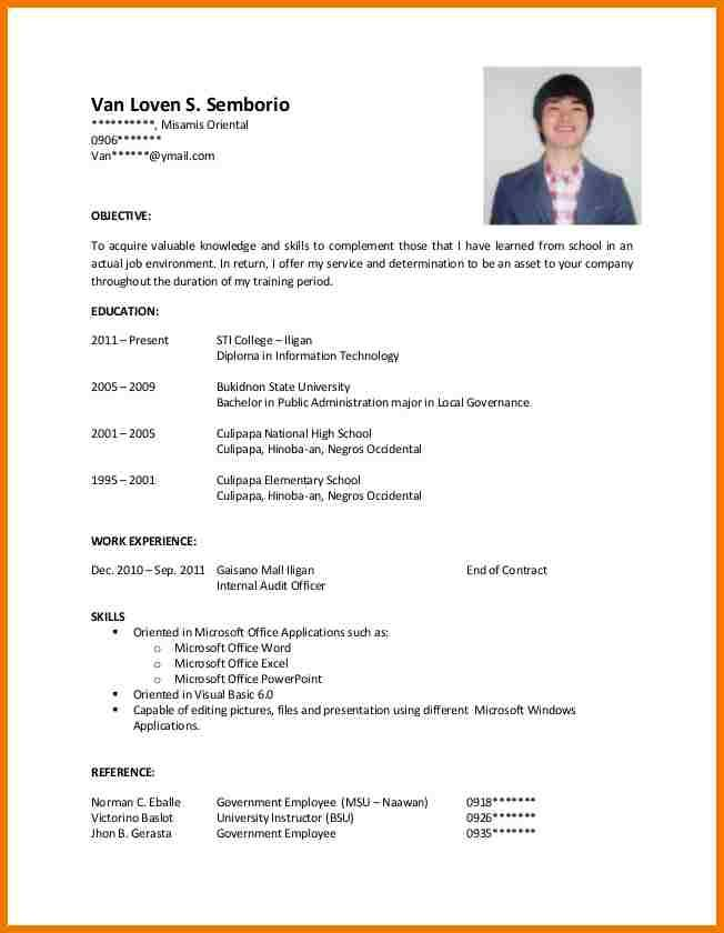 sample resume format for ojt accounting students