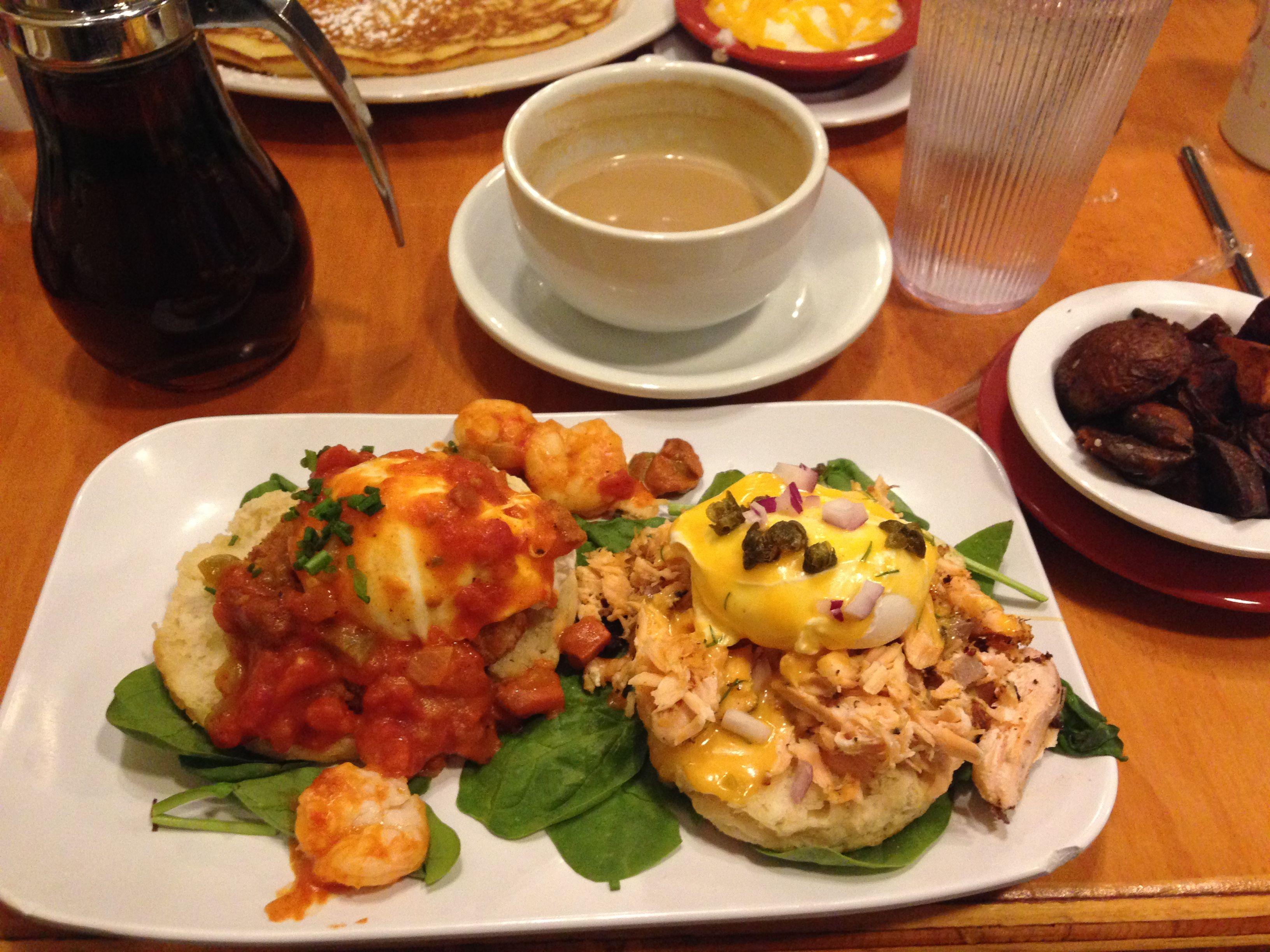 Photo of Benedict duo: Shrimp boogaloo (Gulf shrimp sautéed with pork tasso, served over…
