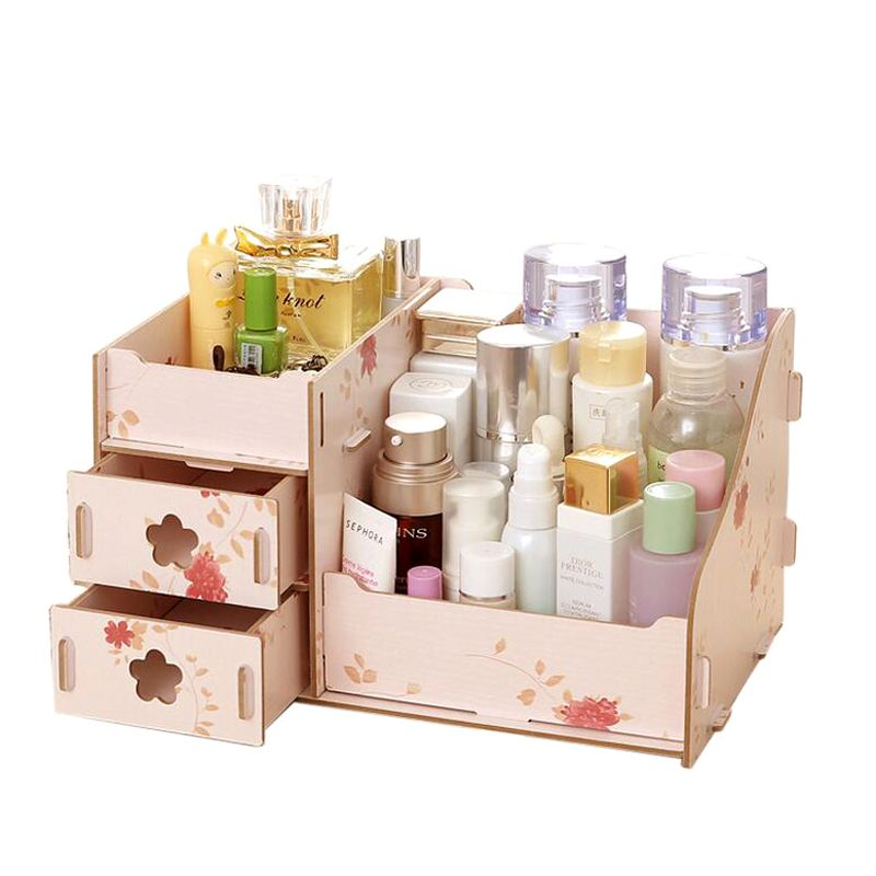 bd491316ad77 Wooden Storage Box Jewelry Container Makeup Organizer Case Handmade ...