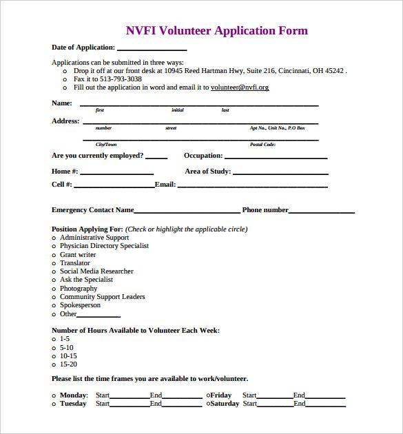 Volunteer Forms Template Check More At Https Nationalgriefawarenessday Com 46428 Volunteer Forms T Volunteer Application Printable Job Applications Templates