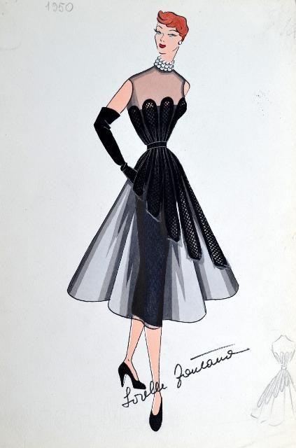Bozzetti delle sorelle fontana moda vintage italia for Storia della moda anni 50
