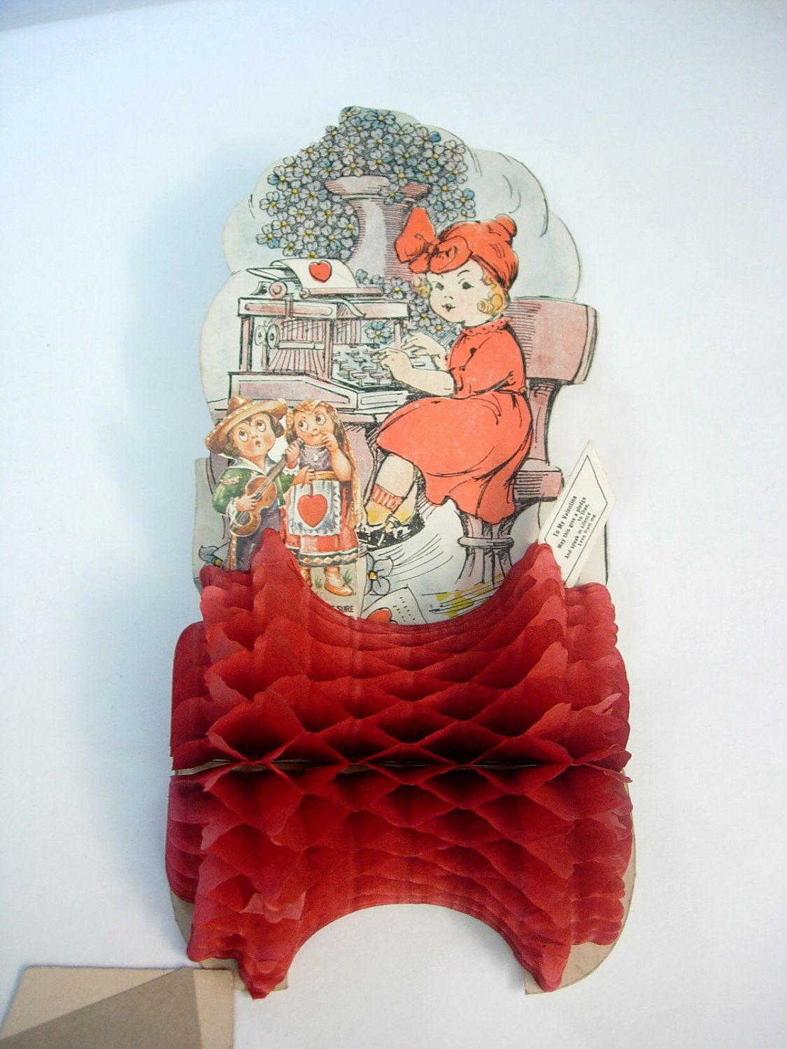 Vintage Valentine Accordion Die Cut Fold Out Mechanical Paper Doll