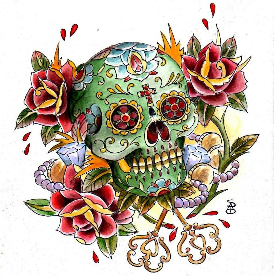 http://sanditattoo.it/wp-content/uploads/2013/06/01_teschio_fiori_colorato.jpg