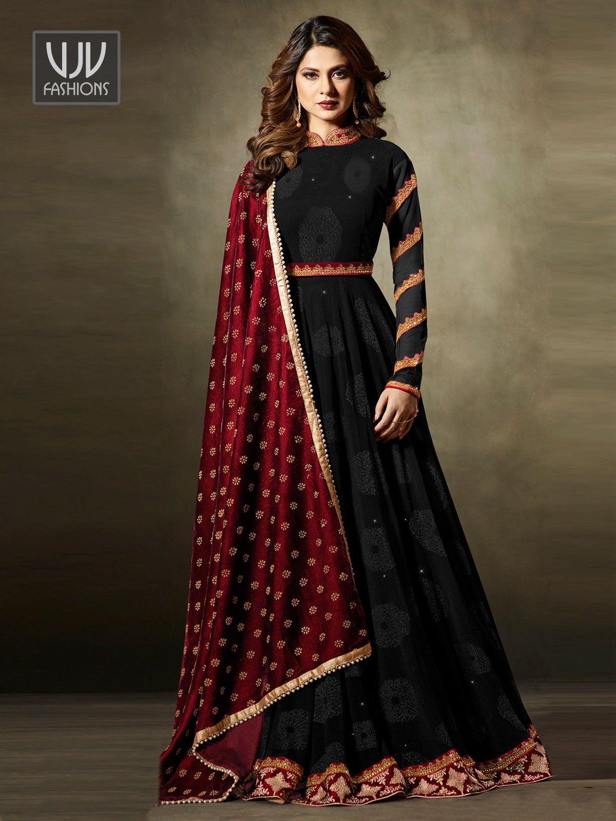 a38f238f50f64b Jennifer Winget Black Velvet Designer Anarkali Suit in 2019 | me ...