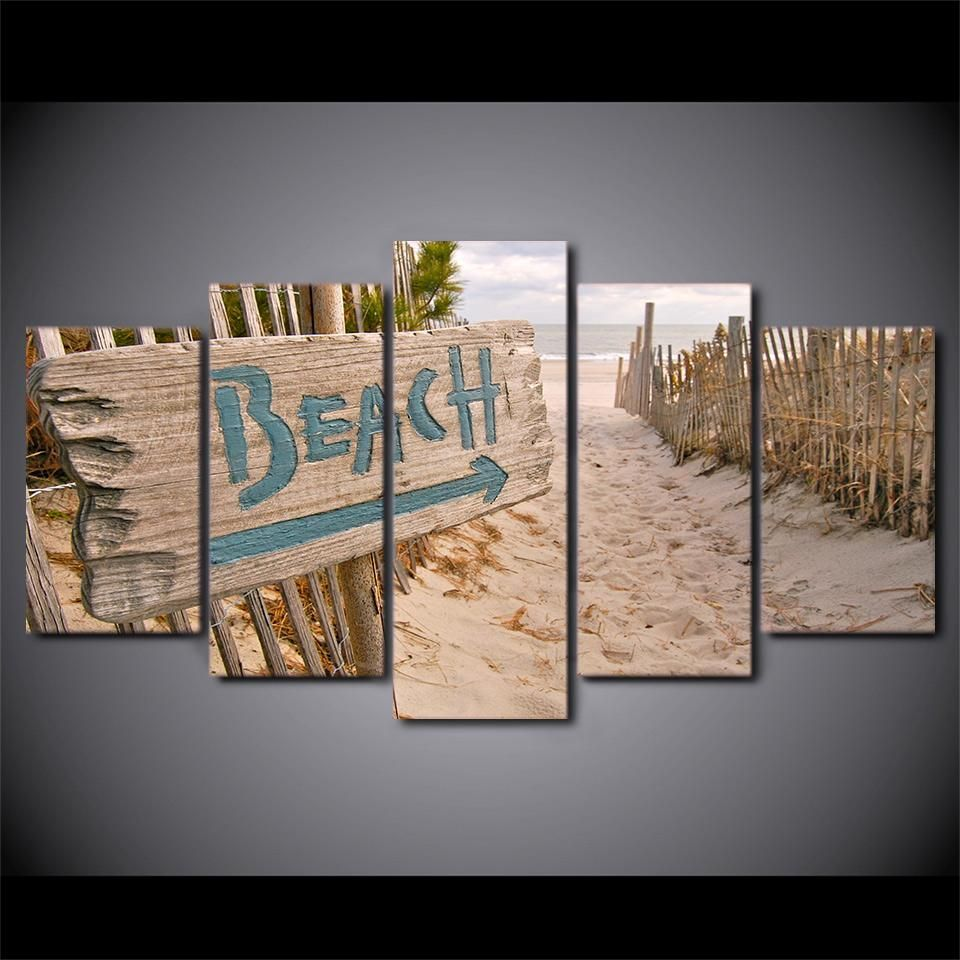 wall art canvas painting 5 piece HD print Beach Fence posters and ...