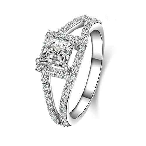 AMDXD Jewellery Silver Plated Engagement Rings for Women 2 Heart Cubic Zirconia Silver Bands