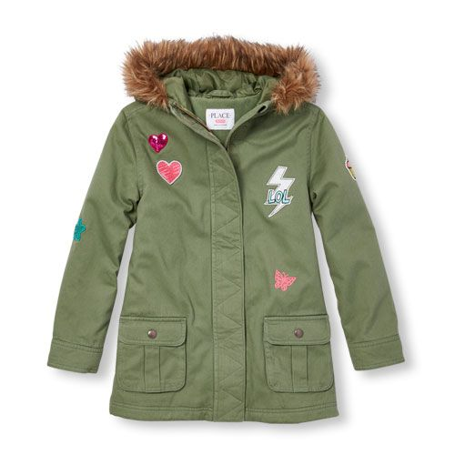 s Long Sleeve Patched Hooded Parka Jacket - Green - The Children's ...