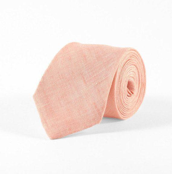 cc6a80b23110 Light peach tie, Peach necktie, peach linen necktie, peach wedding ties,  grooms peach tie, light salmon tie, Neckties for men