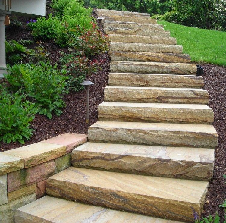 Naturstein Treppen Im Garten Modern Geschwungen Gartentreppe Garten Stufen Natursteintreppe