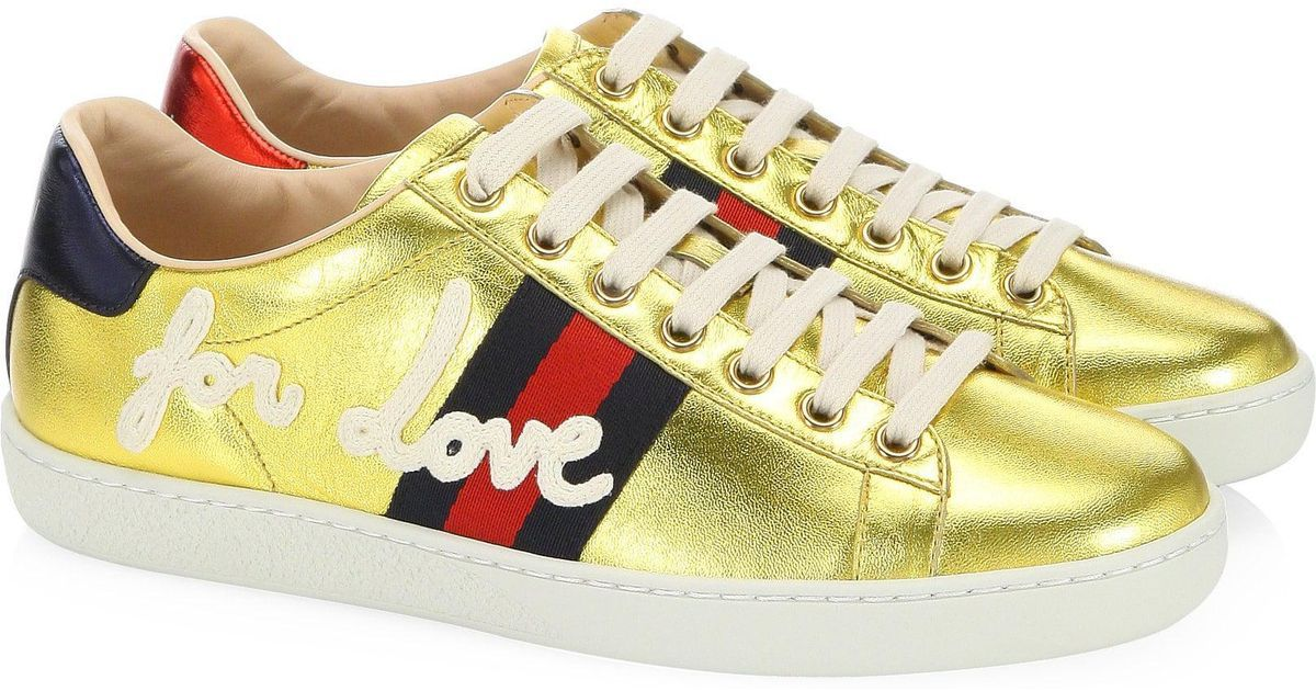 a5d565419e3 Gucci - Metallic New Ace Embroidered Sneakers - Lyst