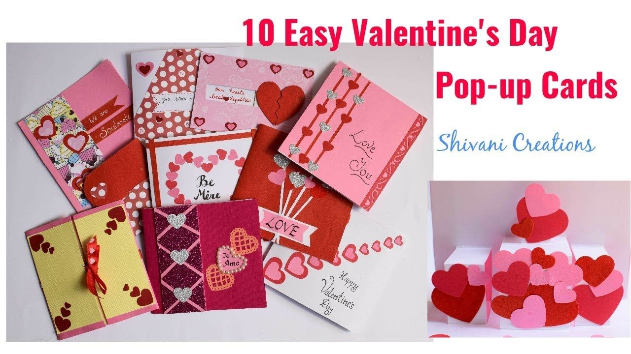 valentine's day popup cards in 10 different ways 10 easy