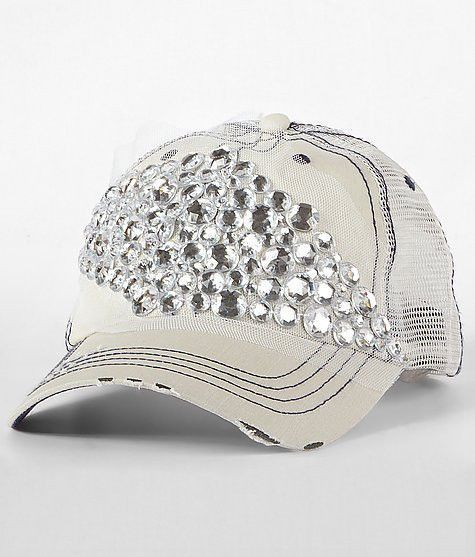 4f2dd4c41a6 Envy Diamond Large Diamond Gem Rhinestone Bling Mesh Trucker Snap-Back Hat  Off-White Destructed Style with Black Stitching & Lace Detail LARGE Grinded  ...