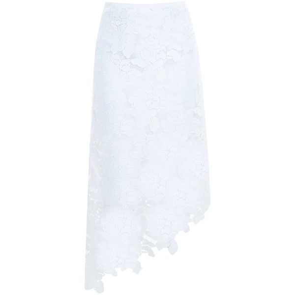 TIBI Lace Skirt ($1,072) ❤ liked on Polyvore featuring skirts, white skirt, white knee length skirt, lace skirt, white embroidered skirt et tibi