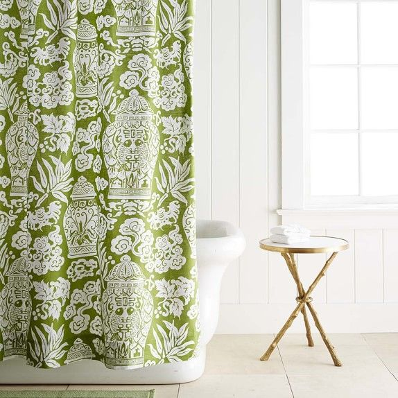 Printed Linen Ginger Jar Shower Curtain Green Curtains Powder