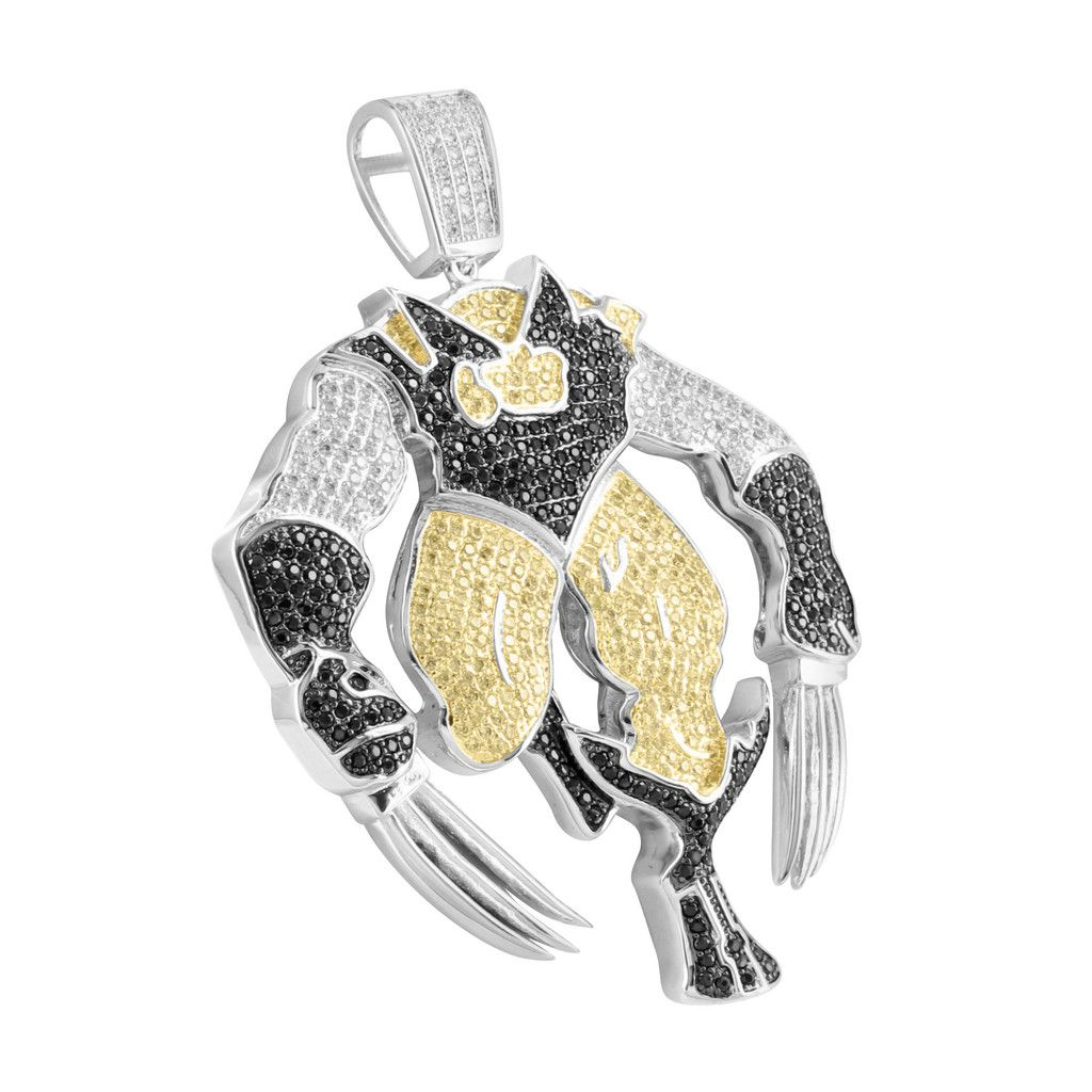Lab diamond white gold finish x men wolverine pendant for Custom lab made hip hop jewelry