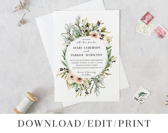 Wildflower Wedding Invitation Template Printable Rustic Pink