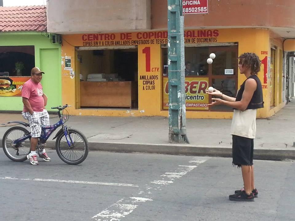 In Cuenca, Ecuador, we saw jugglers on street corners everywhere we went...http://www.themeanderthals.com/ecuadorian-observations/