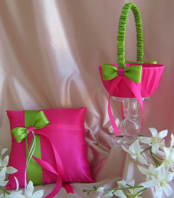 Hot pink and green wedding flower girl basket and by all4brides hot pink fuchsia and lime green wedding ring bearer pillow and flower girl basket wedding ring cushion and basket set mightylinksfo Images