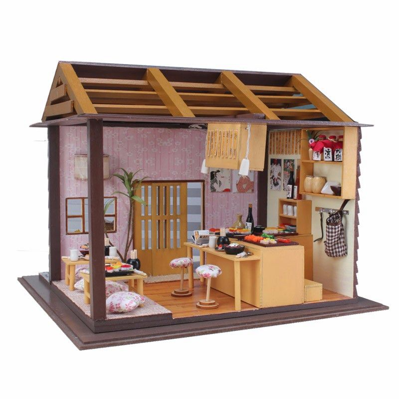 FREE SHIPPING PH12S111 1:12 Miniature Coffee Shop DIY Dollhouse Kit with English Instructions